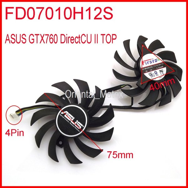 Wholesale- 2pcs/lot Firstdo FD7010H12S DC 12V 0.35A 75mm For ASUS GTX760 DirectCU II Graphics Card Fan 4Pin