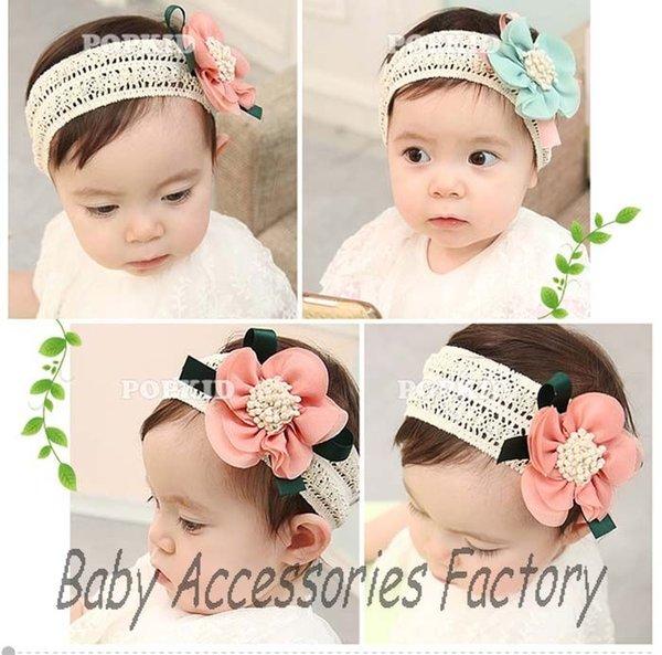 Fleur Baby//Toddler Bandeau Crochet Stretch Filles Cheveux
