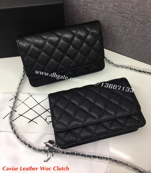 5A Quality Classic Women's Black Caviar Woc Clutches Crossbody Bag 33814 Lambskin Qulited Mini Flap Shoulder Bag 20cm Factory Outlet