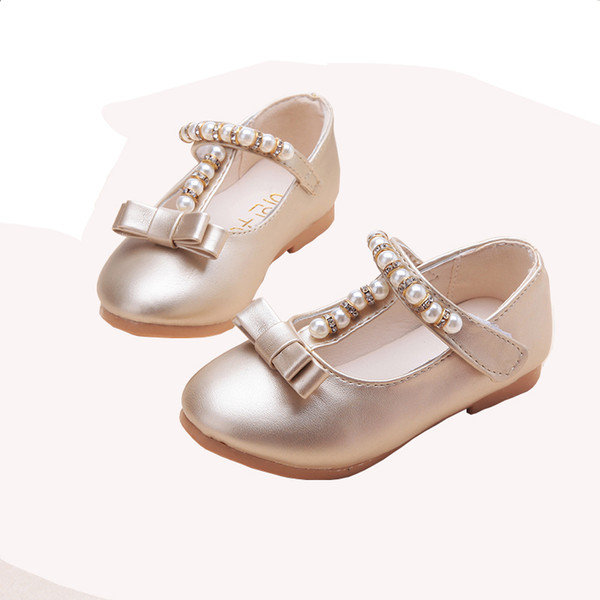 Toddler Kids Baby Flower Children's Pearl Princess leather Dance Single Shoes Wedding Party Dress Shoes For Girls Shoes New 2018 wholesale