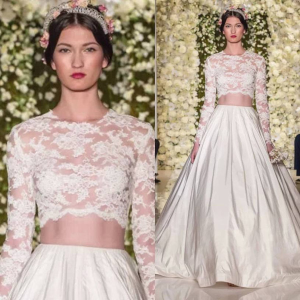 Vintage Lace 2 Two Piece Wedding Dress with Long Sleeves 2015 Zuhair Murad Sexy See Through Bridal Wedding Dresses Gowns Vestidos De Noiva