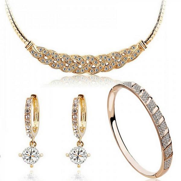 Full Rhinestone Zircon Waltz Necklace Earrings Bracelets Sets 18K Gold Plated Crystal Jewelry Sets For Women 1018