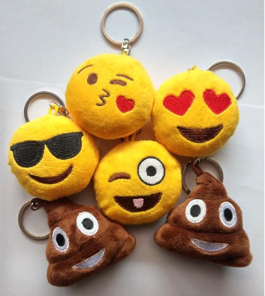 Wholesale-Hot Selling Unique Design 5 Style Cute Phone Emoji Keychain Emoticon Key Ring Yellow Cushion Stuffed Plush Soft Toy Key Chains