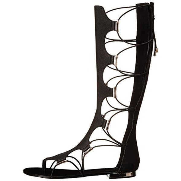 Black Knee High Flat Summer Boots For Women Lace Up Criss Cross Straps Flat Women Sandals Shoes Boots Womens Big Size Back Zip Hollow Out