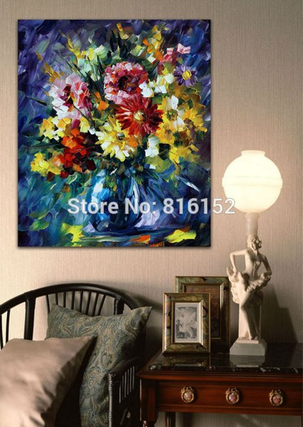 Colorful Flowers Bouquet in Vase Palette Knife Painting Wall Art Picture Printed On Canvas Picture For Office Home Decor