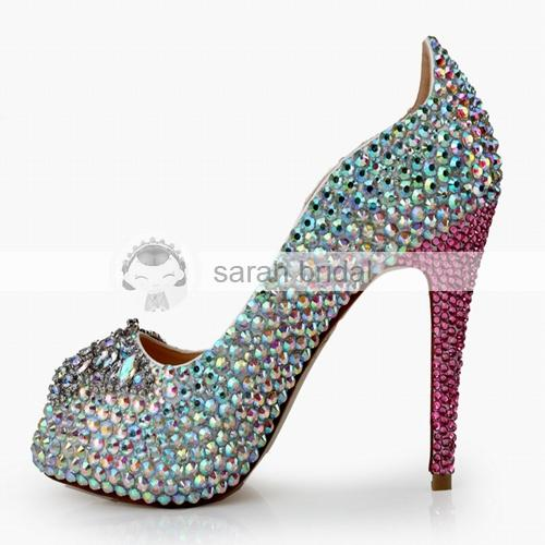 2019 Novos Sapatos de Casamento De Cristal Com Strass Peep Toe Plataforma de Salto Alto Personalizado Multi-cor do Partido da Mulher Prom Evening Sapatos de Noiva MA0367