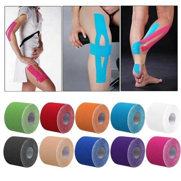 High Quality 5cm*5m 12 Colors Sports Tape Athletic Muscle Strain Injury Tape Support Kinesio Tape Strap Sticker Elbow Knee Pads