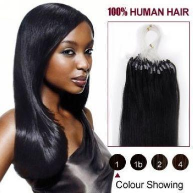 2015 Best Selling virgin Peruvian micro loop hair extensions 1.0 gram per strand 100 strands per Pack 1# jet black dhl free shpping
