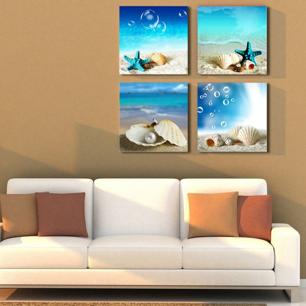 Dipinti 4 Panel grandi dipinti di paesaggi marini Beach tela ...