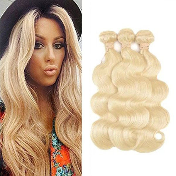 8A Peruvian Virgin Hair Weaves Body Wave Color #/613 3Pcs/lot Mixed Length Brown Blonde Human Hair Extensions Can Be dyed Free Shipping