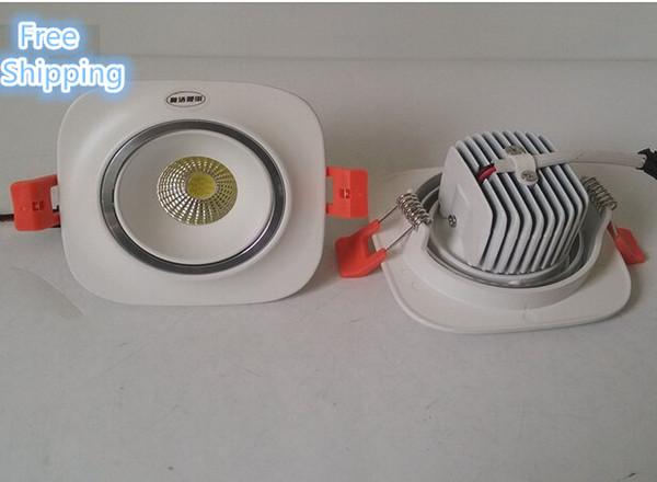 20 pçs / lote mais barato de alta brilho exposição lâmpada cob levou luz de teto 10 w led recesso para baixo luzes ac85-265v led spot lignt