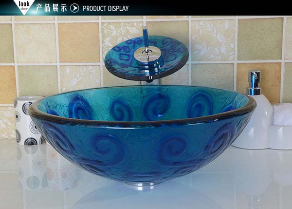 Bathroom tempered glass sink handcraft counter top round basin wash basins cloakroom shampoo vessel bowl HX003