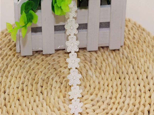 "15 Yard Width 0.6"" White/Fuchsia Embroidered Flower Shape Lace Cotton Fabric Trim For DIY Bridal wedding Doll Cap"