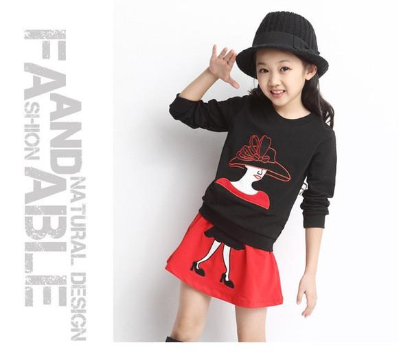 New autumn winter girls clothing set kids cartoon clothes set for girls high quality cotton long sleeve t shirt short dress