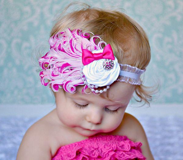 2015 New Promotion - Beautiful girls big bowknot Feather Headband, Baby Girls flower headwear Hairband Hair Accessories Gift