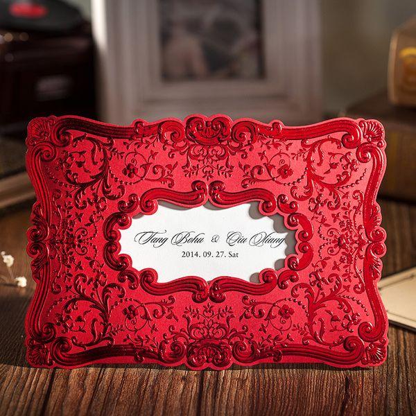 Оптовые китайские красные свадебные пригласительные карточки, тиснение декоративного рисунка, настраиваемые, с возможностью печати, с конвертами
