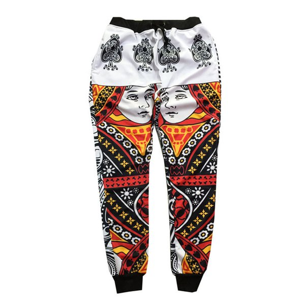Atacado-Mais Novo engraçado dos homens 3d mens calças do basculador CARTÕES Q Rainha cara de poker Imprimir 3D moda sweatpants hip hop calças compridas