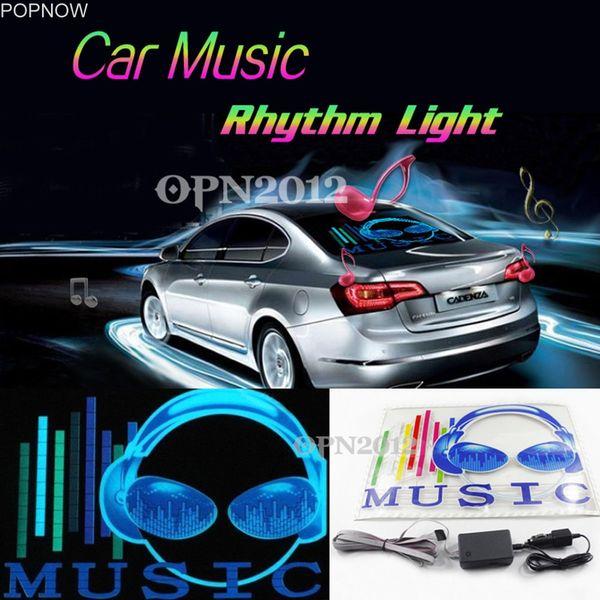 Popnow 45x30cm Autocollant De Voiture LED EL Son Égaliseur Activé Glow Flash Panneau Multi Couleur Lumière Musique Rhythm LED Flash Light # 2295