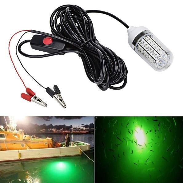 Balıkçılık Işık 4-Colors 12 V 15 W Derin Bırak Sualtı Işık Balıkçılık Lures Balık Bulucu Lamba Balık Karidesleri Kalamar Krill LL ...