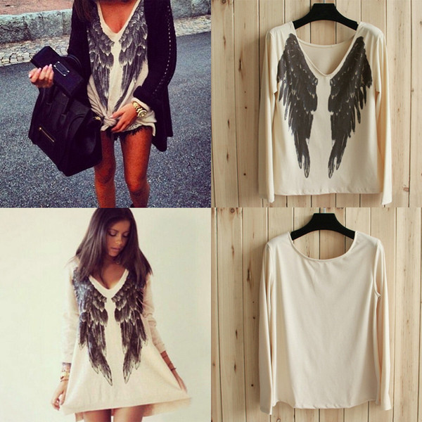 Angel Wings T Shirt For Women Top Quality Spring Summer Long Sleeve Print Tee Naked -5860