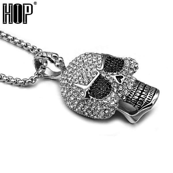 hip hop titanium stainless steel ice out bling full micro pave rhinestone skeleton skull pendant necklace for men jewelry, Silver
