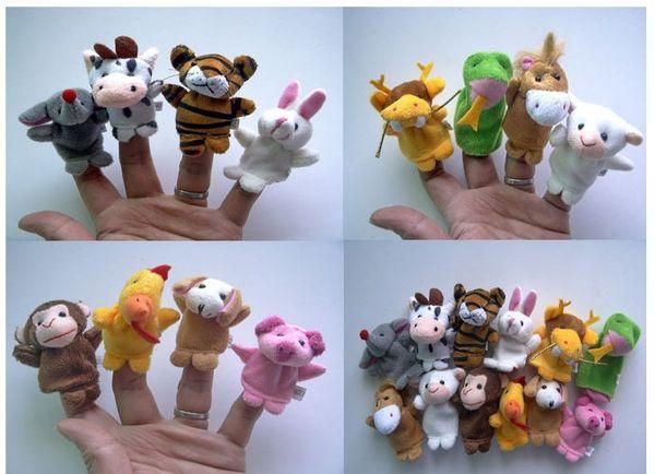 top popular 12styles in one bag Baby Soft Plush Velour Animal Hand Puppets Kids Animal Finger Puppet TOYS Preschool Kindergarten fedex dhl ship free 2021