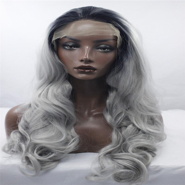 Fashion lave front wigs Synthetic Lace Front Wig Balck To Gray Color Short Wavy Hand Tied Wig For Women Black root grey Big wave hairstyle