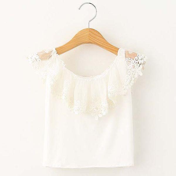 top popular Fashion Girl Dress White Shirt Child Clothes Kids Clothing 2016 Summer Sleeveless T Shirt Lace T-Shirt Girls Tops Children T Shirts C19525 2021