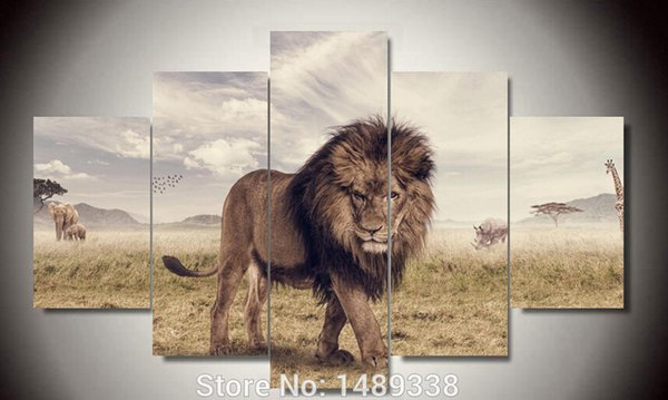 Framed art Printed Animals Lion Group Painting children's room decor print poster picture canvas Free shipping F/373