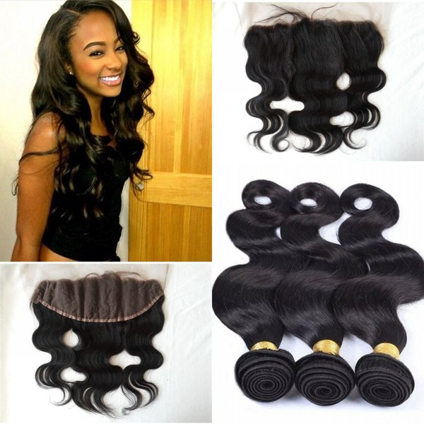 Ear To Ear 13*4 Lace Frontal Closure With Bundles Can Be Dyed No Tangle No Shedding Body Wave Brazilian Virgin Hair With Closure G-EASY