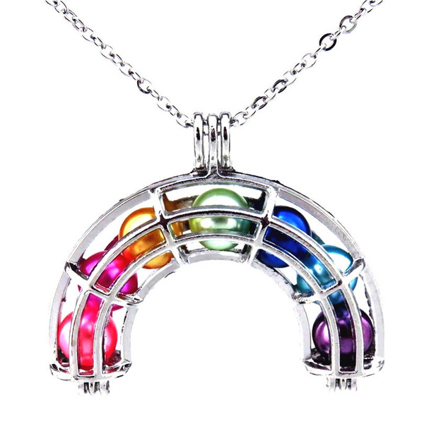 "top popular Silver Rainbow Pearl Cage Rainbow Locket Necklace Pendant 20"" Stainless Steel Chain WITHOUT Akoya Oysters 2019"