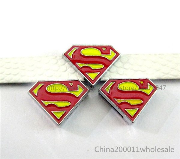 10pcs 8mm superman Slide charms SL232 Fit DIY Name Bracelets /Necklace/Name Pet collar/Key chain/Fhone strips(Fit 8mm wide belt)