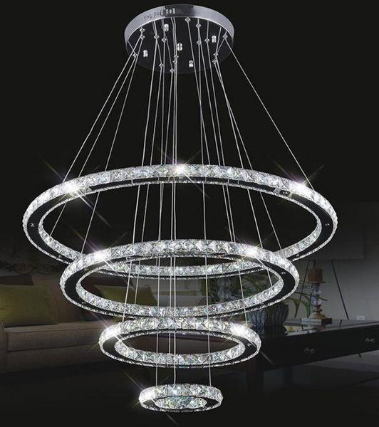 Grande Modern LED Lustres K9 Luminárias de Suspensão de Cristal Para sala de estar sala de jantar 4 Anel de Diamante Lustre de Iluminação Círculo Lâmpadas Pingente LLFA