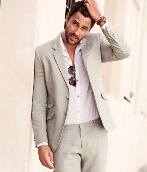 Summer Casual Grey Linen Suits Notched Lapel Men Wedding Suits Sea