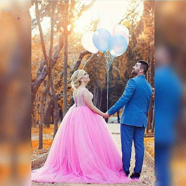 Plus Size hot Pink Wedding Prom Dresses major beaded Back Lace Up Robe De Soirre Arabic Dubai Party Formal Evening Gowns 2016 Designs