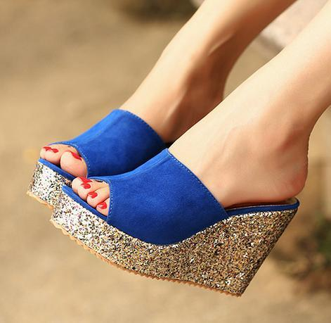 size 34 to size 40 2016 Glitter sequined peep toe platform wedges heel shoes women summer sandals 3 colors