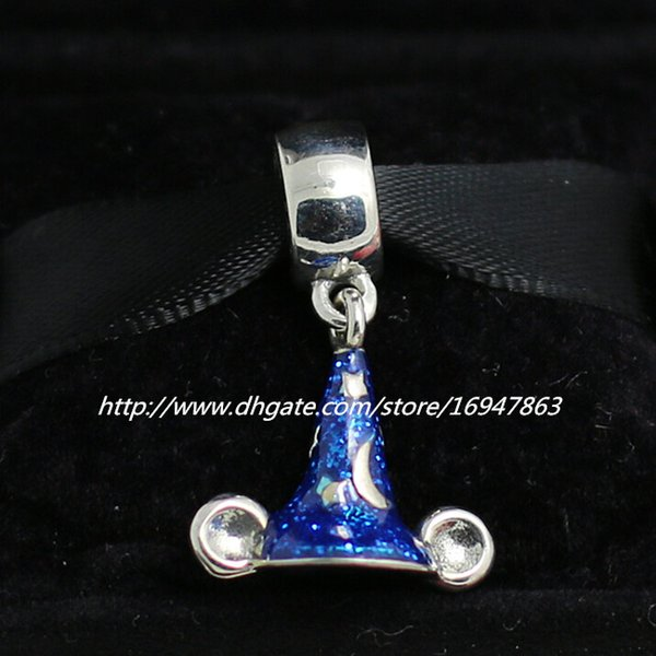 New 100% S925 Sterling Silver Sorcerer Mickey Hat Dangle Charm Bead with Blue Enamel Fits European Pandora Jewelry Bracelets & Necklaces