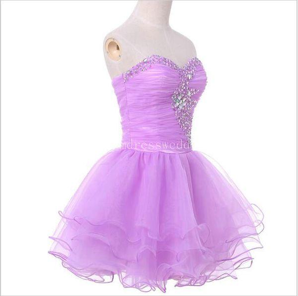 Fashionable Real Black Prom Dress Cheap Purple Watermelon Short ...