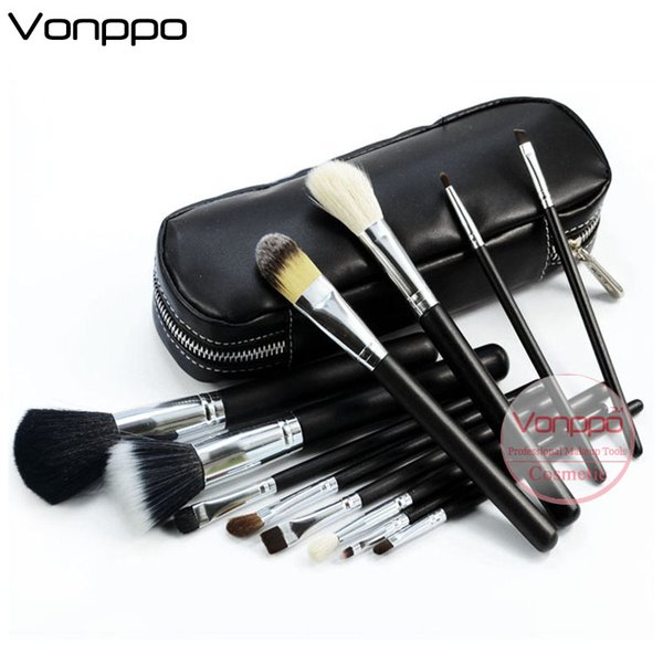 Brand 12 Pcs Makeup Brushes Tools Set Goat Hair Horse Hair Silver Tube Black Handle with Zipper Leather Bag Oem Label