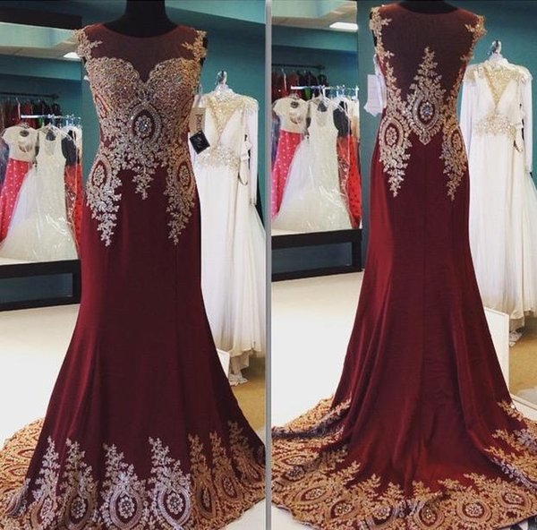 2015 Real Image Burgundy Lace Applique Bead Sheer Cap Sleeve Mermaid Sweep Train Long Formal Evening Dresses Sexy Party Prom Dress Gowns
