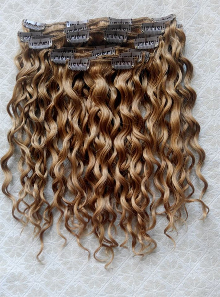best selling New Style Brazilian Virgin Curly Hair Weft Clip In Human Hair Extensions blonde 270# Color 9pcs set
