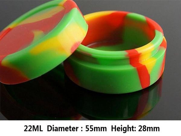 22 ml Flourenscent mum konteynerler renkli silikon kavanoz orta boy gıda sınıfı silikon balmumu konteynerler dab wax kutu depolama yağı E Sigaralar