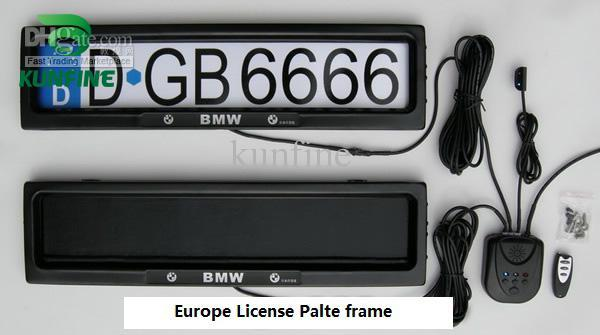 Free shipping ! Europe Car License Plate Frame with remote control car licence frame cover plate pri