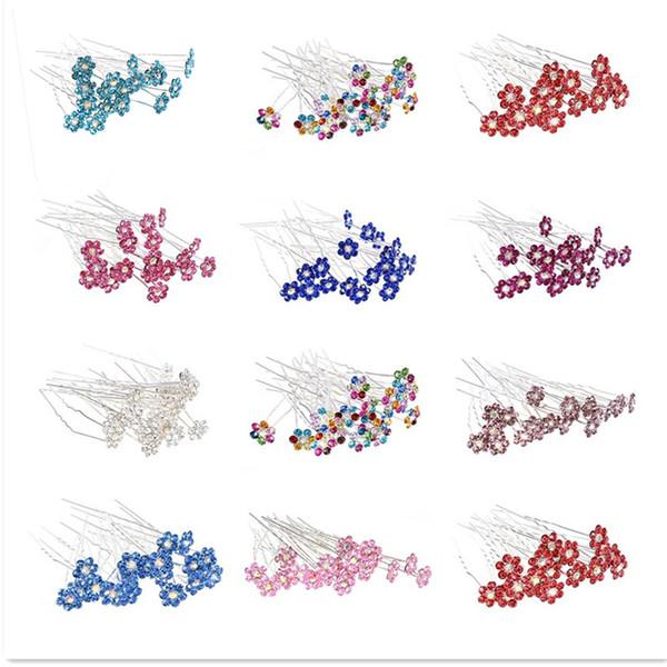40pcs/Lot Women Rhinestone U Shape Hairpins For Bridal Wedding Accessories Flower Crystal Hair Pins Clip Bridesmaid Jewelry