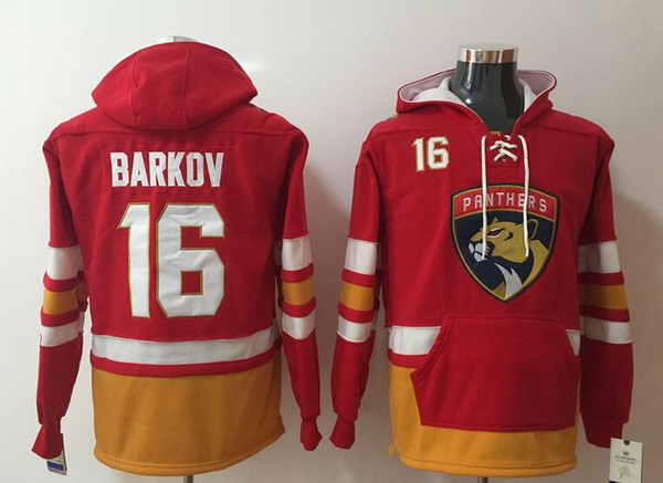 Florida Panthers Hoodies Trikots # 16 Barkov Hockey Hoody rote Farbe mit Taschen genäht Größe S-XXXL Old Time Mix Order alle Trikots