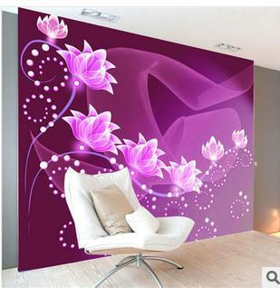 Customize size High Quickly HD mural 3d wallpaper wall paper dream purple flower papel de parede wholesale price Free shipping!!