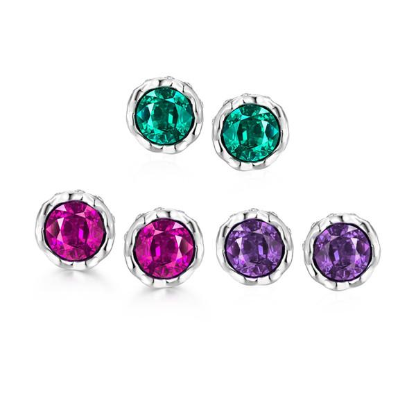 Big Round Three colors Styles stud earrings white rose golden e040-b gift Free 2016 Fashion New Jewelry Brincos de Prata