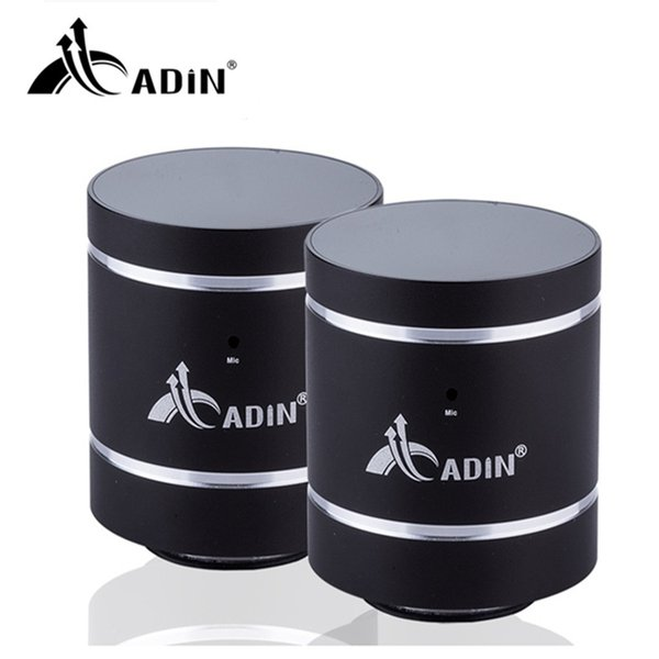 Wholesale- ADIN 1 Pair 20W Bluetooth Speaker Vibration HIFI Speakers Metal Phone Speaker Mini Vibration 3D Stereo Subwoofer With MIC