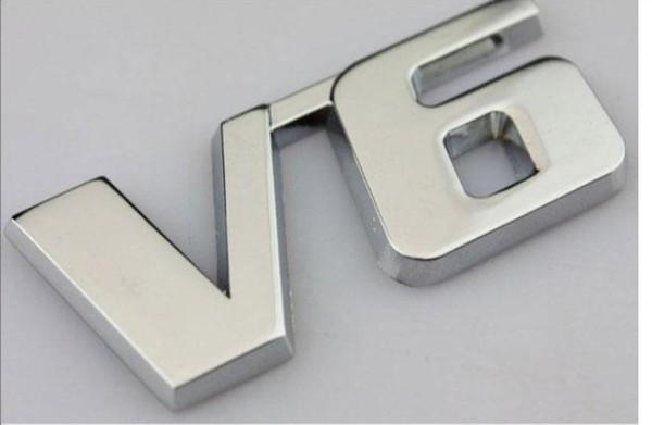 best selling Metal V6 Chrome Emblems badges cars Bumper Stickers fender car styling