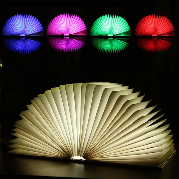 LED Night Light Folding Reading Book Light USB Port Rechargeable Home Table Desk Ceiling Decor Lamp 5 Colors Changing Lighting